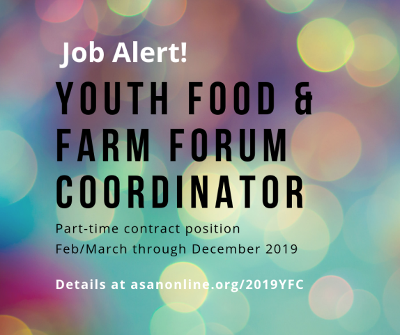 Job alert: 2019 Youth Food & Farm Forum Coordinator